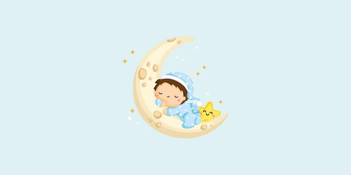 ay üzerinde uyuyan bebek